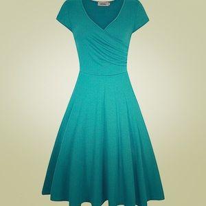 Teal Faux Wrap Stretch Cotton Full A Line Dress M